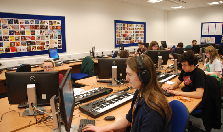 Students Working in Music Lab 1